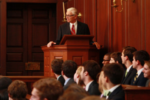 College President Taylor Reveley spoke to incoming Student Assembly members at their inauguration Wednesday, April 9. COLLEEN TRUSKEY / THE FLAT HAT