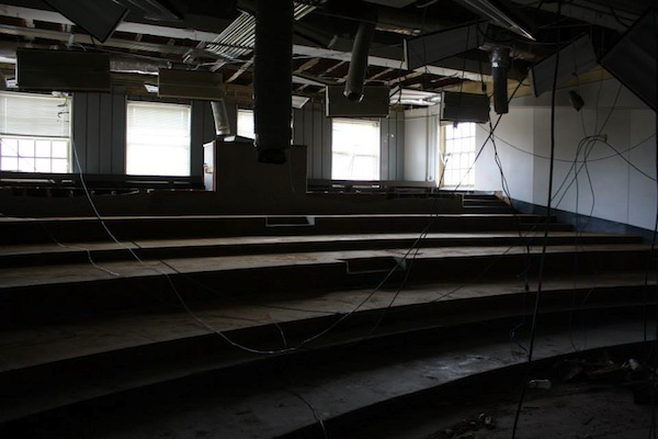 This photo depicts Tyler Hall's first floor lecture hall. Construction plans will flatten the classroom, install new desks, and update the hall's electrical appliances.