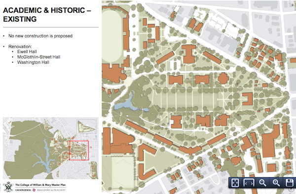 No new construction is proposed for the academic and historic sectors of campus. COURTESY PHOTO / WM.EDU