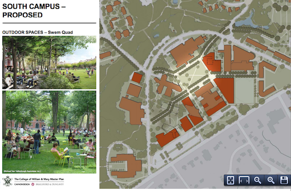 The area around the Earl Gregg Swem Library will be redesigned to include more seating space. COURTESY PHOTO / WM.EDU