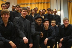 The Jazz Ensemble posing for a photo before the concert. COURTESY PHOTO / PAUL BHASIN