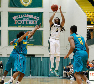 Senior guard Marcus Thornton scored 19 points, including the game sealing free throws, to lead the College to victory. COURTESY PHOTO / TRIBE ATHLETICS
