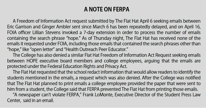 A Note on FERPA