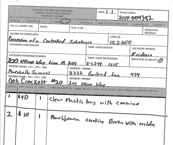SCREENSHOT BY AINE CAIN / THE FLAT HAT. A screenshot of the property report listing the cocaine and drug paraphernalia discovered in Marshall's room.