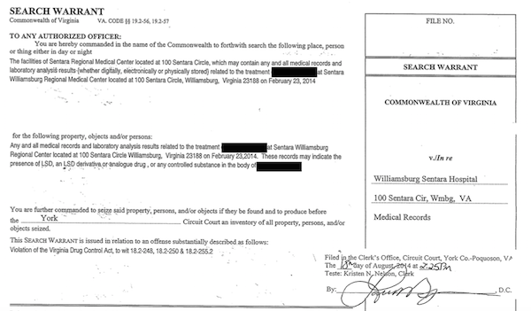 SCREENSHOT BY AINE CAIN / THE FLAT HAT. Screenshot of the search warrant for the medical records of the soccer player who experienced a seizure after taking an LSD substitute.