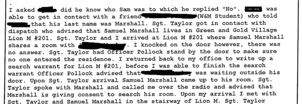 SCREENSHOT BY AINE CAIN / THE FLAT HAT. Screenshot of the police report of the Sam Marshall case.
