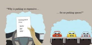 Independent Graphic that highlights high price of parking, and issues with finding spaces