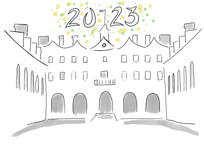 Drawing of the outline of the Wren Building, as viewed from the Wren Yard, with the numbers 2023 above the building