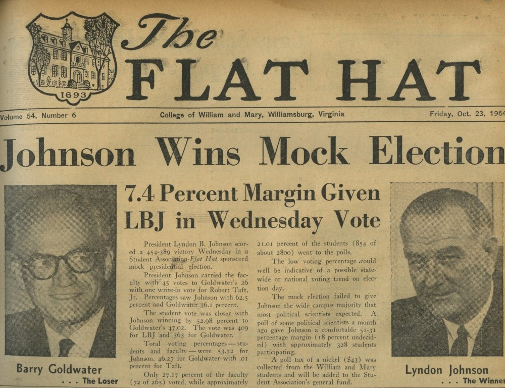 Johnson Wins Mock Election – Oct. 23, 1964