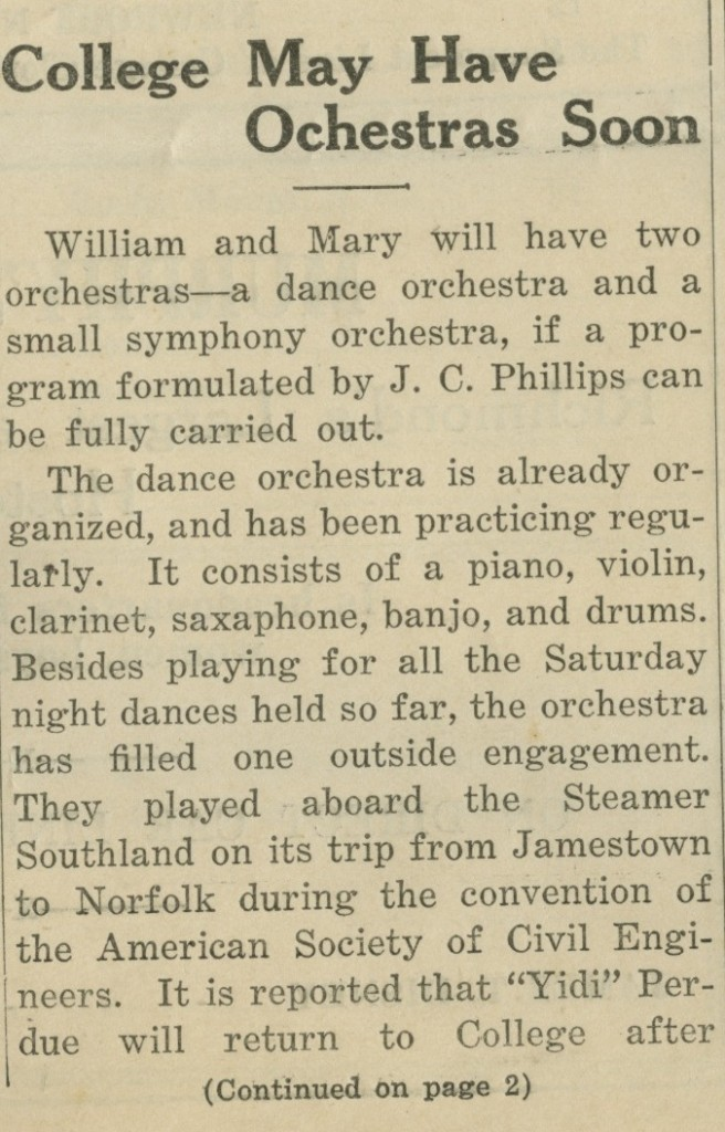 College May Have Orchestras Soon – October 26, 1923