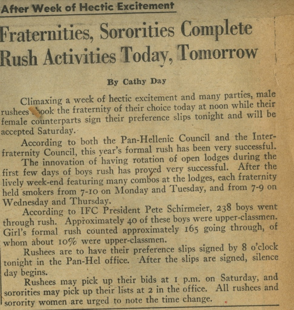 Fraternities, Sororities Complete Rush Activities Today, Tomorrow – Feb. 10, 1961