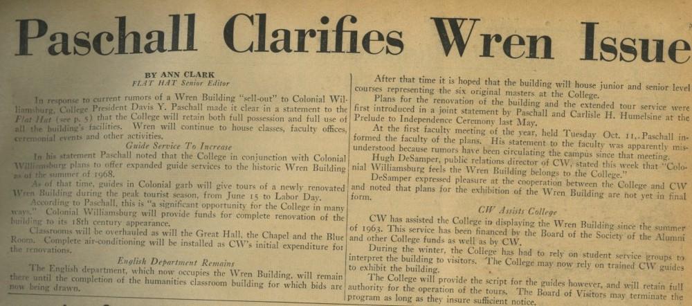 Paschal Clarifies Wren Issue – October 14, 1966