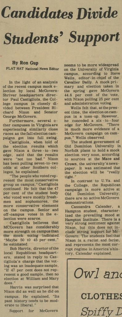 Candidates Divide Students' Support – October 13, 1972