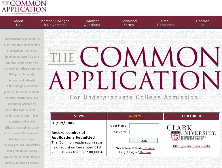 College comments on Common App issues