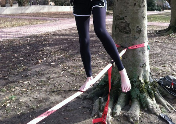 I walk the slackline