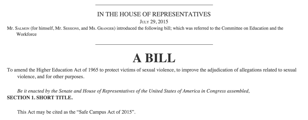 Safe Campus Act proposed by House Republicans addresses sexual assault