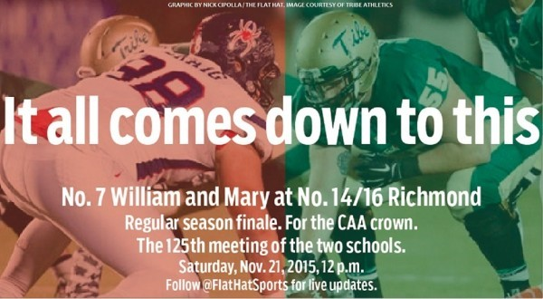 Football: No. 7 Tribe takes on No. 14/16 Saturday with the CAA crown on the line