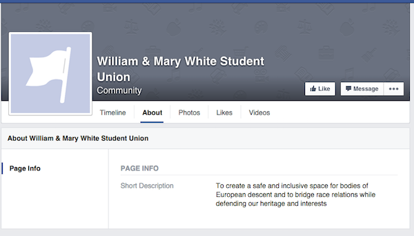 Page claiming to represent white student union appears on Facebook