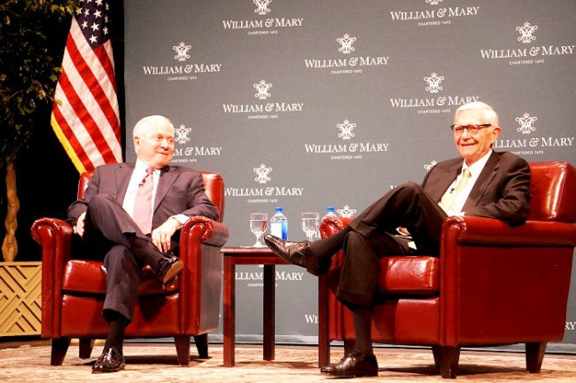 'Everyone take a deep breath': Gates sits down with Reveley, discusses national politics