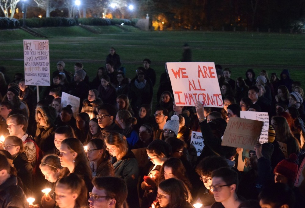 Campus responds to executive order: professors, students gather for 'No Ban in My Name' protest
