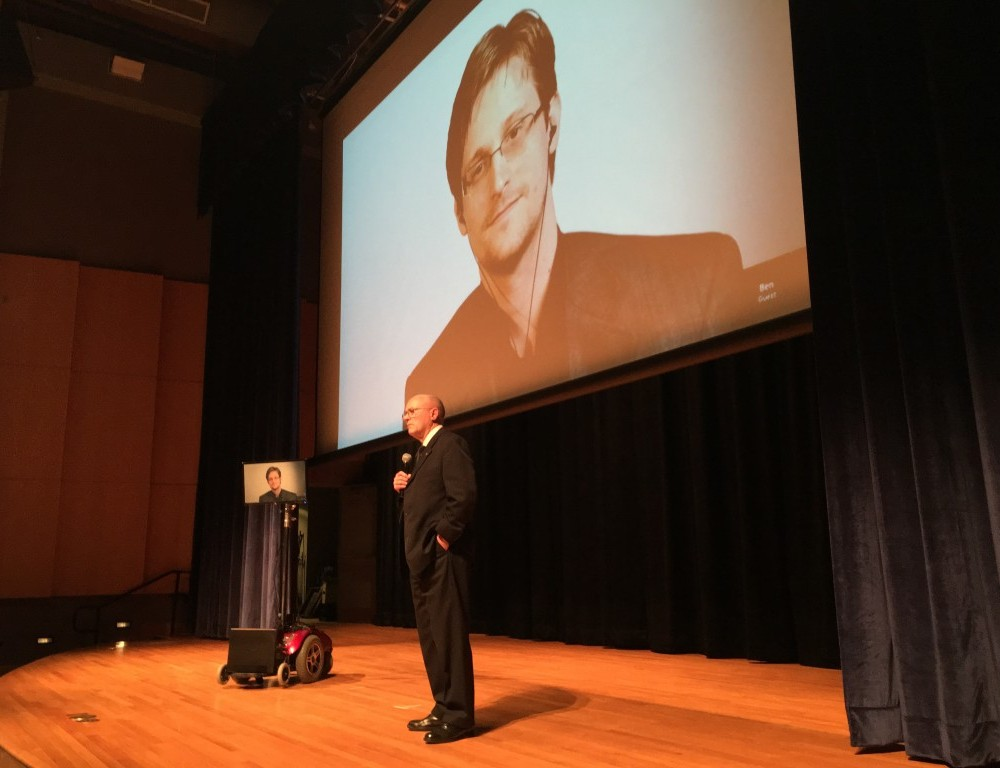 Snowden joins campus via livestream, talks national security, privacy