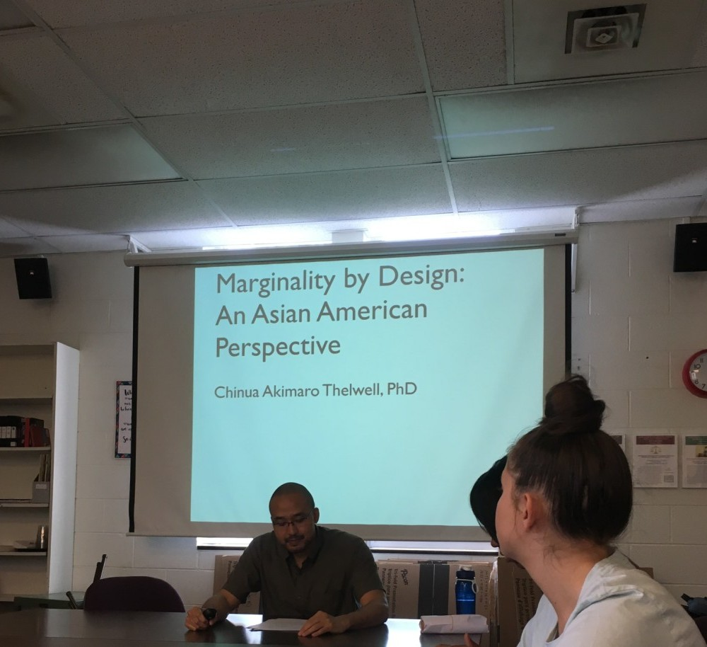 Lecture explains Asian-American perspective, discusses white narrative