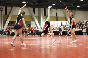 Harrison and her teammates mid-routine. COURTESY PHOTO / PAM SHARMAN