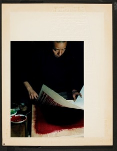 Yoshida in the process of making a print. COURTESY PHOTO / MUSCARELLE MUSEUM OF ART
