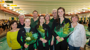 The College celebrated its senior class during the dual meet with East Carolina. COURTESY PHOTO / TRIBE ATHLETICS