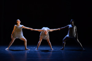 """""""'Free Will,' choreographed by Rachel Sillcox, used dramatic movements, shadows and lighting to convey the dancers' imprisonment."""