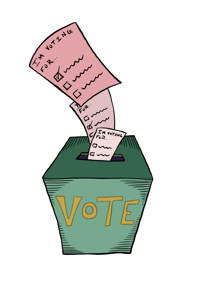 Green voting box with various ballots being placed inside