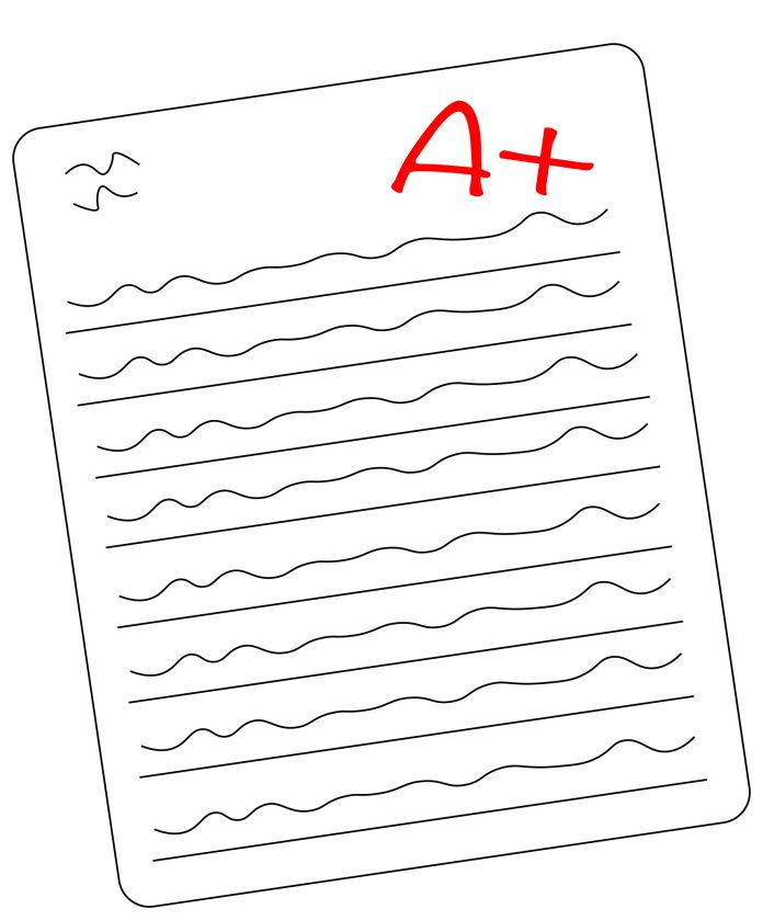 Graphic of paper with an A+ on it